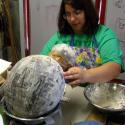 Zoe Wilson making pinata