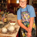Andrew Bishop working clay