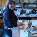 Erin Imes working on her Kitty Pot