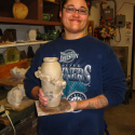 Kendra Arnold with raw clay vase