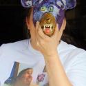 Lauren Svacek with dog mask