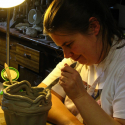 Lauren Svacek working in clay