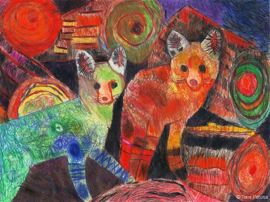 Foxes - Talia Petosa - Oil Pastel