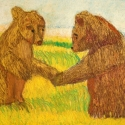 Bears  Meeting in a Pastoral  Setting - Ben Sherlock