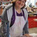 Erin Imes making a slab