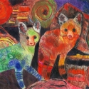 Foxes - Talia Petosa - Oil Pastel