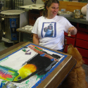 Lauren Svacek drawing Twocan with Rosie