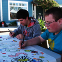 Leo Black and Lukas Corradini working on Art as a Way Banner