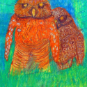 Owl Super Hero - Jonathan Ong - Oil Pastel, Colored Pencil