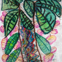 Palm Tree - Erin Imes - Touch Drawing, Mixed Media