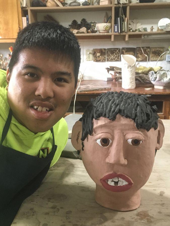Jonathan Ong  - Portrait Head -  hand painted ceramics