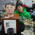 Jonathan Ong with his Portrait Head at MOSA