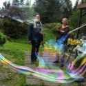 Kendra Arnold and Shelley Black inside a bubble