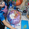 Talia Petosa decorating her pumpkin