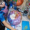 Talia Petosa decorating her pumpkin